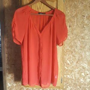 APT 9 red women's sheer blouse.